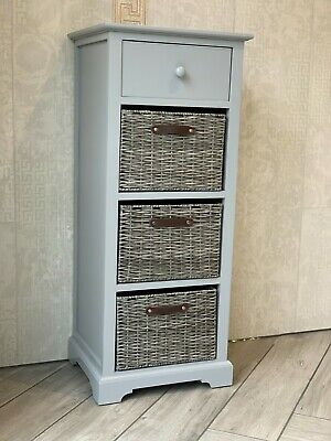 Grey Modern Sleek Storage Unit Drawers Wicker Baskets Office Bedroom Living Room • 99.99£