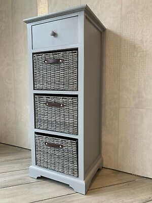 Grey Elegant Storage Unit Drawers Wicker Baskets Office Bedroom Living Room • 99.99£