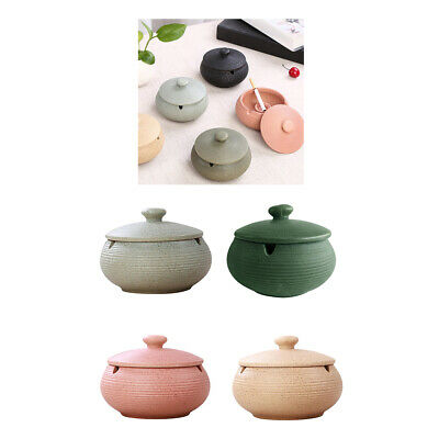 4xCeramic Ashtray With Lid Round Cigar Ashtray Home & Office Ash Holder • 32.25£