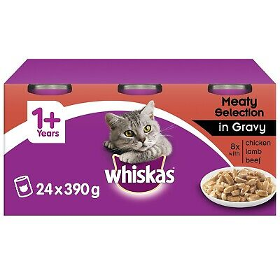£22.99 • Buy 24 X 400g Whiskas 1+ Adult Complete Cat Food Tins Meaty Selection In Gravy