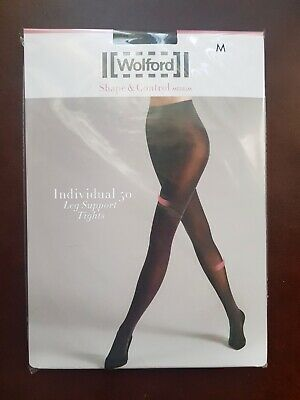 New Wolford Tights Individual 50 Leg Support Tights Size M Black • 24£