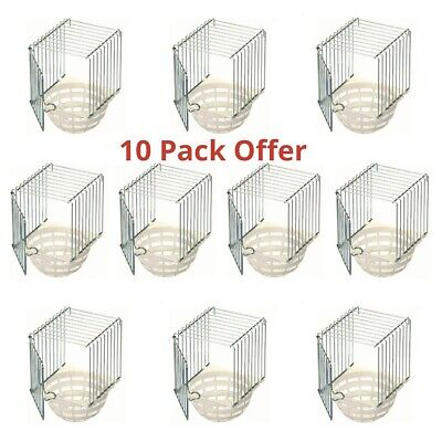 10 X Plastic & Wire Canary Nest Pans / Bird Nest Box For External Cage Fixing • 32£