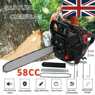 Heavy Duty 20  58cc Petrol Chainsaw Saw Cutter Cover Wood Cutting Saw Blade Tool • 69.99£