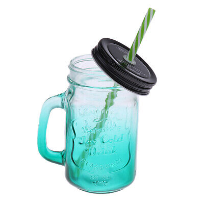 Mason Gradient Green Jars Mugs With Handles Lids And Drinking Straws 480ML • 8.77£