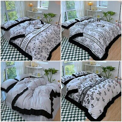 AU21.99 • Buy Gray Diamond Pintuck Wrinkle Quilt Duvet Doona Cover Set Queen/King Size Bedding
