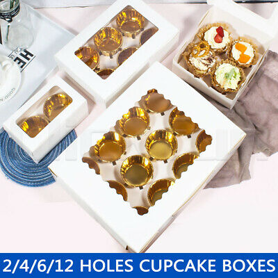 AU10.99 • Buy Cupcake Boxes 2/4/6/12 Holes Clear Window Cupcake Display Boxes Muffin Cups AU