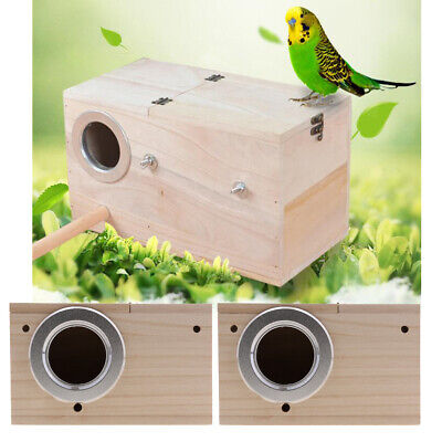 2x Wooden Budgie Nest Nesting Box & Perch For Cage Aviary With Opening Top • 13.73£