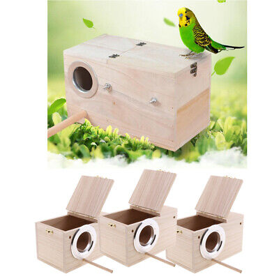 3pcs Wooden Budgie Nest Nesting Box & Perch For Cage Aviary W/ Opening Top M • 21.21£