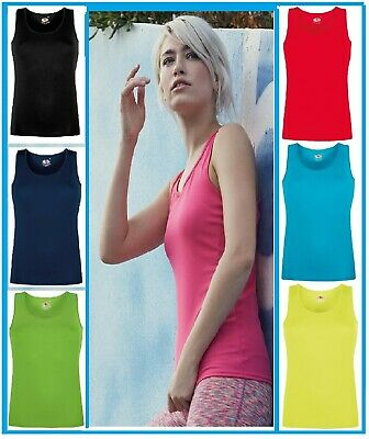 £6.98 • Buy New Women's & Ladies Fruit Of The Loom Lady-fit Performance Vest(XS-2XL)