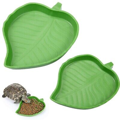 £10.44 • Buy 2 Pieces Leaf Reptile Food Water Bowl Plate Dish For Tortoise Corn Snake Craw...