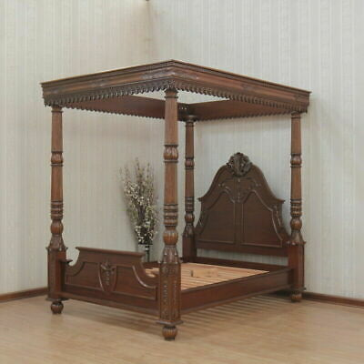 Greenwich Renaissance Canopy Bed,100% Legal Mahogany Wood,nc Finish,free Del • 2,570.39£