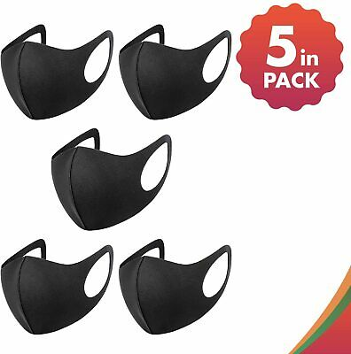 £2.95 • Buy Pack 5 Face Mask Black Reusable Washable Breathable Dust Mouth Cover CHEAP UK