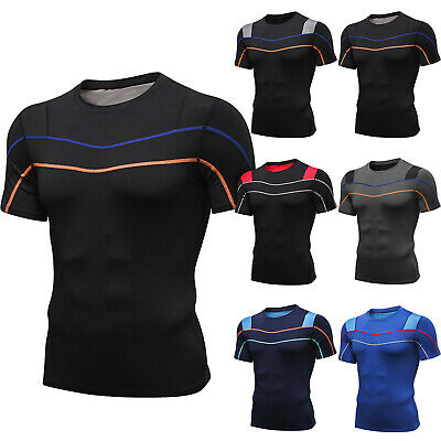 Mens Compression Base Layer Short Sleeve T-Shirt Gym Sports Fitness Running Tops • 12.34£