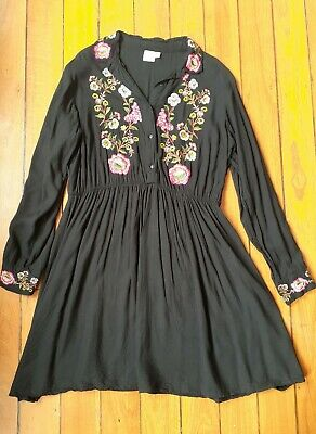 AU20 • Buy ASOS Black Maternity Dress With Boho Floral Embroidery, Size UK 16, AU 16 - 18