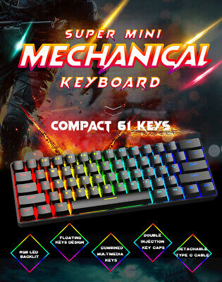 AU58.99 • Buy Super Mini 60% RGB Mechanical Gaming Keyboard With Bluetooth & Wired Mode For PC