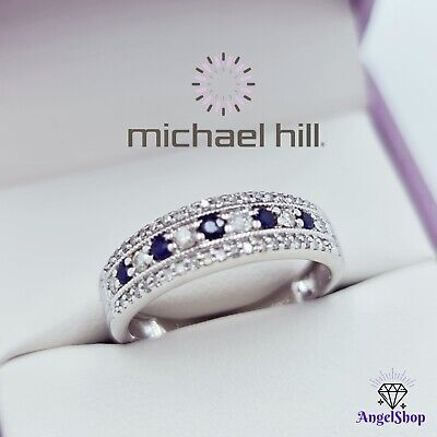 AU425.60 • Buy MICHAEL HILL 10ct White Gold Ring Natural Sapphire Diamond Band Size L - 6
