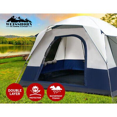 AU116.95 • Buy Weisshorn Family Camping Tent 4 Person Hiking Beach Tents Canvas Ripstop