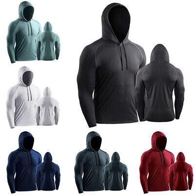 Mens Long Sleeve Hooded Tops Compression Base Layer Sport Gym T Shirt Hoodies  • 13.89£