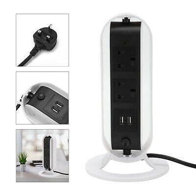 £16.99 • Buy 5 Way Surge Protected Rotating Lead Socket Plug With 2 USB Port Tower Extension