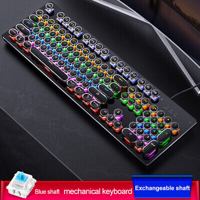 AU39.99 • Buy Real Gaming Mechanical Punk Round Retro Keycap Backlit USB Wired For PC Laptop