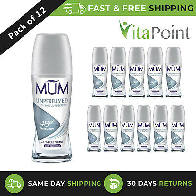 MUM Unperfumed 48H Protection Deodorant Roll On Skin Friendly 50ml / Pack Of 12 • 14.52£