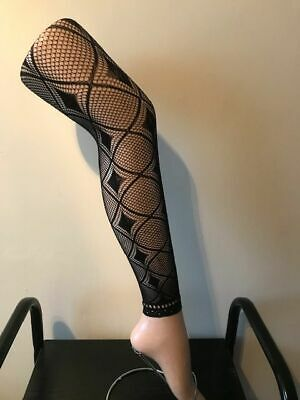 £1.80 • Buy Lace Tights Footless Diamond  Pattern One Size Super Stretch Size 34  - 42  Hips