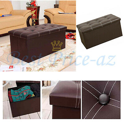 Large Faux Leather Ottoman Toy Storage Folding Chest Box  Seat Foot Stool 30'' • 18.99£