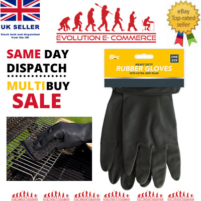 £2.65 • Buy Heavy Duty Rubber Gloves - Cleaning Waterproof Black Protection Large Gardening