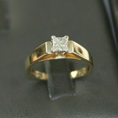 AU412.61 • Buy LOVELY 14k YELLOW GOLD SOLITAIRE DIAMOND RING 1/3 CARAT Size 6.75