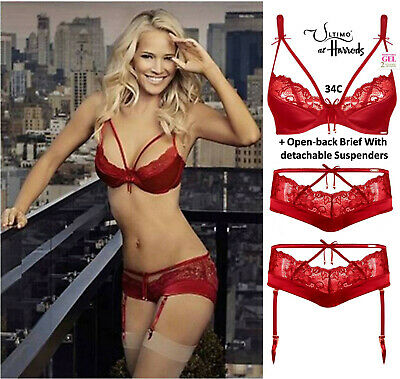 Ultimo Lipstick Red Satin Triple Gel Padded Bra & Suspender Brief Set 34C +10 • 55£