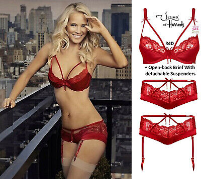 Ultimo Lipstick Red Satin Triple Gel Padded Bra & Suspender Brief Set 34D +12 • 55£