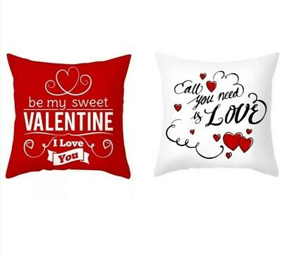 Valentine's Day Gift Love Cushion Covers  SET OF 2 (Red & White)   18 X 18 • 8.49£
