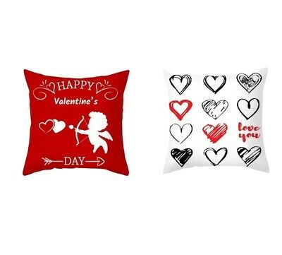 Cushion Covers _ Valentine's Day Gift Love  SET OF 2 (Red & White)  18 X 18  • 8.99£