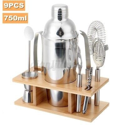 9PCS Cocktail Shaker Set With Stand Stainless Steel Mixer Bartender Accessories  • 16.49£