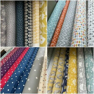 £8.99 • Buy Designer Cotton Fabric For Curtain Cushions Blinds Upholstery Fabric 100% Cotton