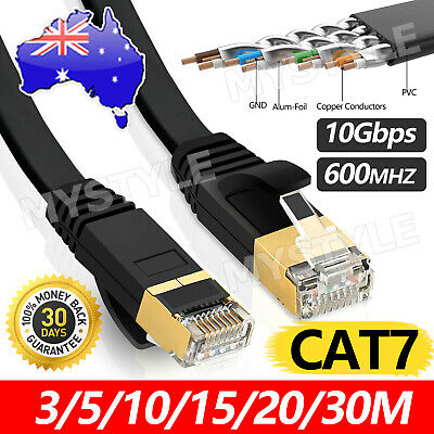 AU16.95 • Buy Upto 30M Network Lan CAT7 RJ45 Cord Ethernet Flat Shielded Cable Patch Lead