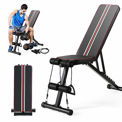 Adjustable Multifunctional Weight Bench Exercise Workout Training Benches Black • 75.99£