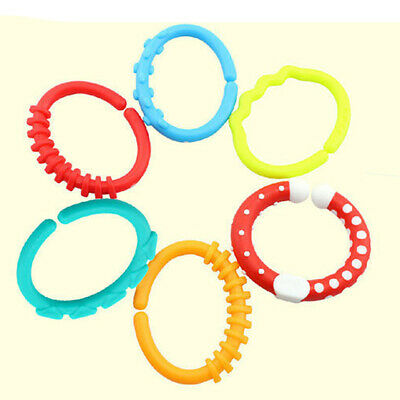 £4.51 • Buy 6x Silicone Stroller Gym Play Mat Toys Rainbow Teether Ring Links Baby Kids