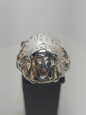 £24.99 • Buy VINTAGE / Antique SILVER INDIAN CHIEF HEAD RING SIZE L Native American