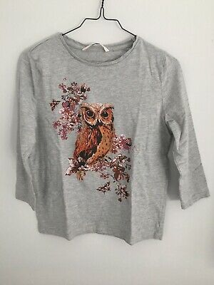 £6 • Buy TU Womens Graphic Cotton Blend Grey Marl Owl 3/4 Sleeve Top Size 8