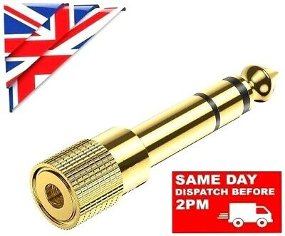 £2.69 • Buy 3.5mm FEMALE To 6.35mm MALE GOLD AUX JACK PLUG AUDIO STEREO CONNECTOR ADAPTER