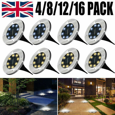 8LED Solar Power Ground Lights Decking Patio Garden Lights Lawn Path Lamp UK • 8.99£
