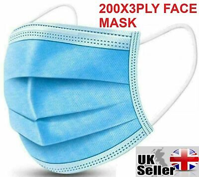 £6.49 • Buy 200 X Disposable Face Mask 3 PLY Disposable Face Mask