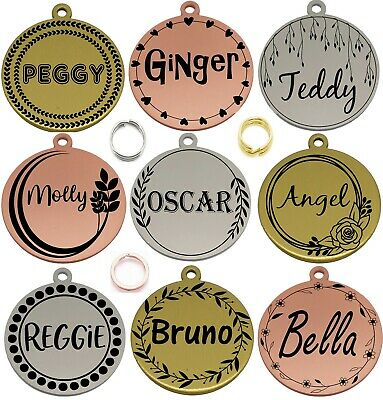£4.99 • Buy Double Side Engraved Thick Round Id Name Disc Personalised Pet Dog Cat Tag