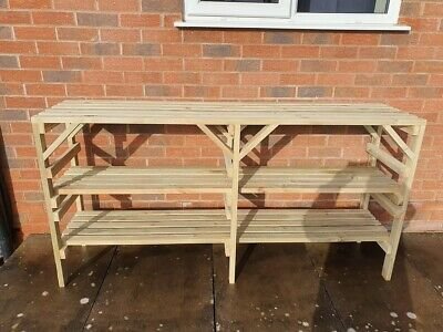 £93 • Buy Wooden Greenhouse Staging Shelving Potting Bench - Very Solid - 3 TIER