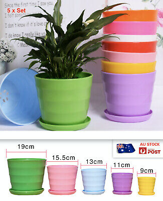 AU16.99 • Buy AU STOCK 5 X POTS WITH TRAYS SET THICKENED DURABLE RESIN PLANT POTS  011