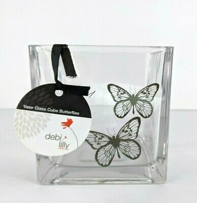 £10.30 • Buy New Debi Lilly Clear Glass Vase Butterfly Butterflies Modern Candle Holder Cubed