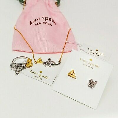 $ CDN88.80 • Buy Kate Spade Year Of The Rat Mouse & Cheese Jewelry Set- Earrings+Ring+Necklace