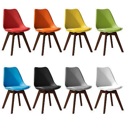 £36.99 • Buy Jamie Walnut Colour Dining Chair, , Eiffel Inspired, Solid Wood Plastic, Padded