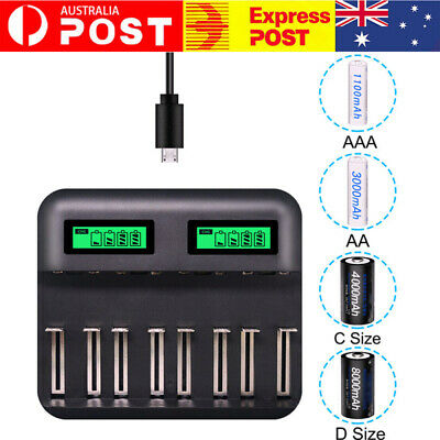 AU25.99 • Buy 8 Slot Smart Battery Charger LCD Display For AA/AAA/C/D Rechargeable Batteries